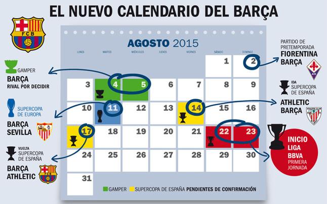 Calendario Del Barca.Las Probables Fechas De La Supercopa De Espana Y El Gamper