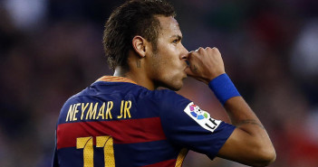 FC Barcelona's Neymar celebrates after scoring against Granada during a Spanish La Liga soccer match at the Camp Nou stadium in Barcelona, Spain, Saturday, Jan. 9, 2016. (AP Photo/Manu Fernandez)