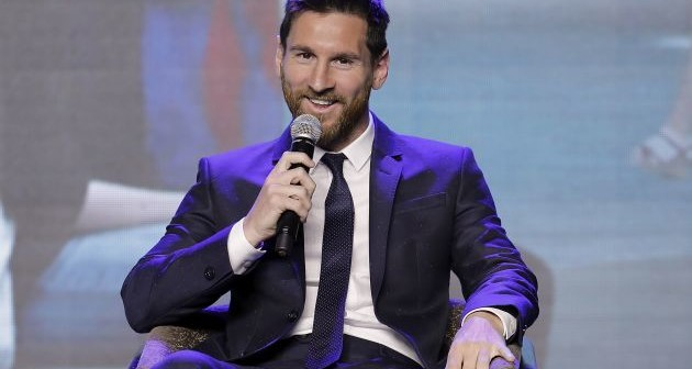 BEIJING, CHINA - JUNE 01:  FC Barcelona's striker Lionel Messi speaks during a news conference at China World Trade Center Grand Hotel on June 1, 2017 in Beijing, China. Messi arrived in China to attend an event related to the Messi soccer Eco Experience Pavilion. The park is to be build in Nanjing and will be the largest theme park in the world.  (Photo by Lintao Zhang/Getty Images)