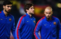 VILLARREAL, SPAIN - JANUARY 08:  (L-R) Andre Gomes, Sergi Roberto, Javier Mascherano and Lucas Digne of FC Barcelona look on prior to the kick-off of the La Liga match between Villarreal CF and FC Barcelona at Estadio de la Ceramica stadium on January 8, 2017 in Villarreal, Spain.  (Photo by David Ramos/Getty Images)