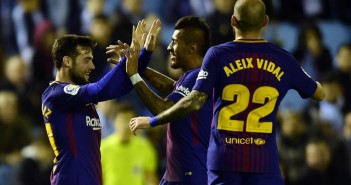 Barcelona s Spanish forward Jose Arnaiz  L  celebrates a goal with teammates during the Spanish Copa del Rey  King s Cup  football match RC Celta de Vigo vs FC Barcelona at the Balaidos stadium in Vigo on January 4  2018    AFP PHOTO   MIGUEL RIOPA
