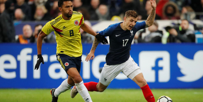 Soccer Football - International Friendly - France vs Colombia - Stade De France, Saint-Denis, France - March 23, 2018   France's Lucas Digne in action with Colombia's Abel Aguilar    REUTERS/Charles Platiau - RC1ACD87A580