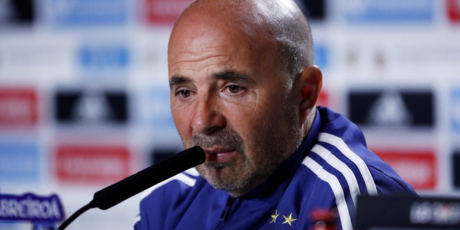 Soccer Football - Argentina Press Conference - Wanda Metropolitano, Madrid, Spain - March 26, 2018   Argentina coach Jorge Sampaoli during press conference   REUTERS/Juan Medina - RC11977BC990