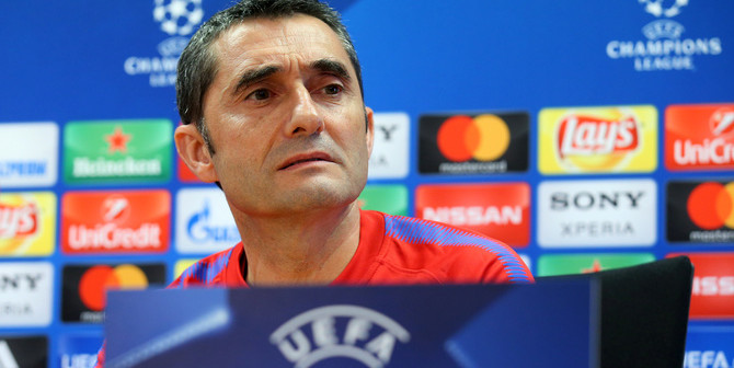 Soccer Football - Champions League - FC Barcelona Press Conference - Ciutat Esportiva Joan Gamper, Barcelona, Spain - April 3, 2018   Barcelona coach Ernesto Valverde during the press conference   REUTERS/Albert Gea - RC148779B590