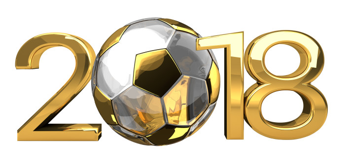 2018 golden football soccer ball. 3d rendering