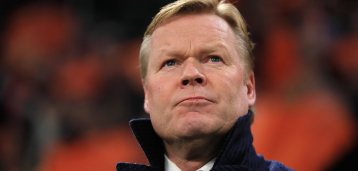 Netherlands coach Ronald Koeman stands prior to the start of the Euro 2020 group C qualifying soccer match between Netherlands and Germany at the Johan Cruyff ArenA in Amsterdam, Sunday, March 24, 2019. (AP Photo/Peter Dejong)