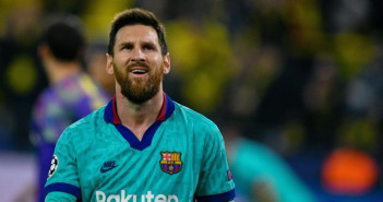 Barcelona's Argentine forward Lionel Messi reacts after the UEFA Champions League Group F football match Borussia Dortmund v FC Barcelona in Dortmund, western Germany, on September 17, 2019. (Photo by SASCHA SCHUERMANN / AFP)