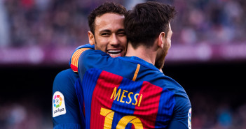 BARCELONA, SPAIN - FEBRUARY 04:  Lionel Messi (R) of FC Barcelona celebrates with his teammate Neymar Santos Jr after scoring his team's second goal during the La Liga match between FC Barcelona and Athletic Club at Camp Nou  stadium on February 4, 2017 in Barcelona, Spain.  (Photo by Alex Caparros/Getty Images)