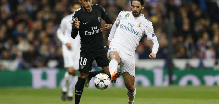 Partido de Champions League entre Real Madrid y PSG.