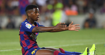 BARCELONA, SPAIN - AUGUST 25: Ansu Fati of Barcelona reacts during the Liga match between FC Barcelona and Real Betis at Camp Nou on August 25, 2019 in Barcelona, Spain. (Photo by Alex Caparros/Getty Images)