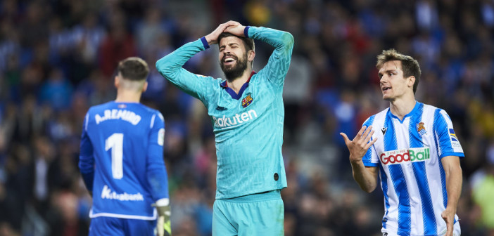SAN SEBASTIAN, SPAIN - DECEMBER 14: Gerard Pique of FC Barcelona reacts during the Liga match between Real Sociedad and FC Barcelona at Estadio Anoeta on December 14, 2019 in San Sebastian, Spain. (Photo by Juan Manuel Serrano Arce/Getty Images)