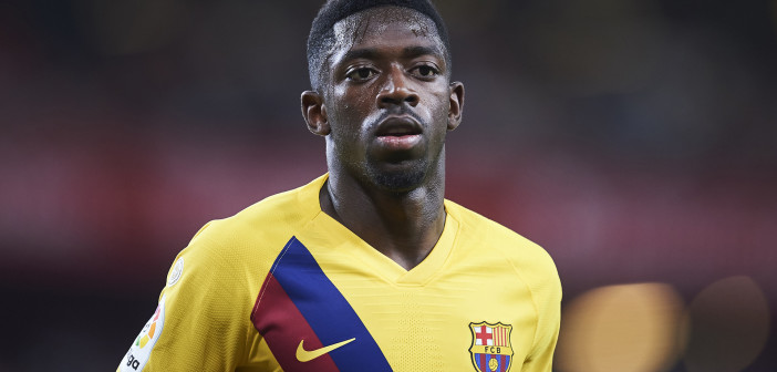 BILBAO, SPAIN - AUGUST 16: Ousmane Dembele of FC Barcelona looks on during the Liga match between Athletic Club and FC Barcelona at San Mames Stadium on August 16, 2019 in Bilbao, Spain. (Photo by Juan Manuel Serrano Arce/Getty Images)