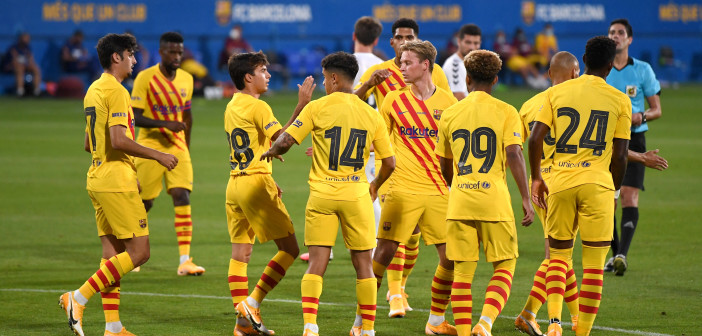 BARCELONA, SPAIN - SEPTEMBER 12: Philippe Coutinho of FC Barcelona celebrates with teammates after scoring his team's third goal  during the during the pre-season friendly match between FC Barcelona and Gimnastic de Tarragona at Estadi Johan Cruyff on September 12, 2020 in Barcelona, Spain. (Photo by David Ramos/Getty Images)