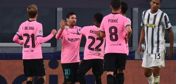 Barcelona's Argentine forward Lionel Messi celebrates scoring his team's second goal during the UEFA Champions League Group G football match between Juventus and Barcelona on October 28, 2020 at the Juventus stadium in Turin. (Photo by Marco BERTORELLO / AFP)