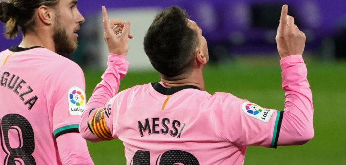 Barcelona's Argentine forward Lionel Messi celebrates after scoring a goal during the Spanish league football match between Real Valladolid FC and FC Barcelona at the Jose Zorilla stadium in Valladolid on December 22, 2020. (Photo by Cesar Manso / AFP)