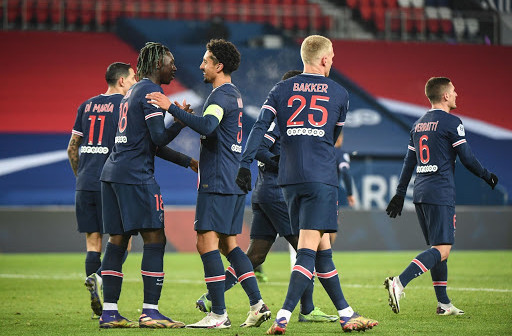 Moise KEAN of PSG celebrates a goal with MARQUINHOS of PSG during the Ligue 1 match between Paris Saint-Germain and Brest at Parc des Princes on January 9, 2021 in Paris, France. (Photo by Anthony Dibon/Icon Sport) - Parc des Princes - Paris (France)
