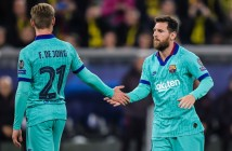 (L-R) Frenkie de Jong of FC Barcelona, Lionel Messi of FC Barcelona during the UEFA Champions League group F match between Borussia Dortmund and FC Barcelona at at the BVB stadium on September 17, 2019 in Dortmund, Germany(Photo by VI Images via Getty Images)